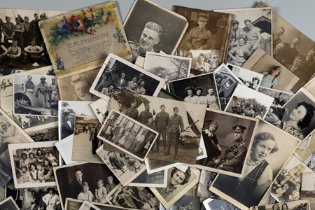 Genealogy - Family History - Old family photographs dating from around 1890 up to about 1950. Zdjęcie Seryjne - 118837841