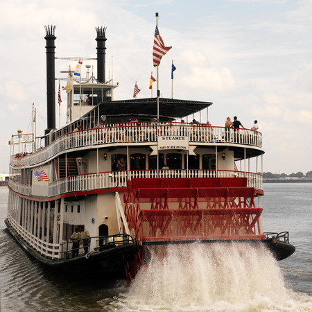 Tourists on a Paddle Steamer on the Mississippi River at New Orleans in Louisiana in the United States of America.