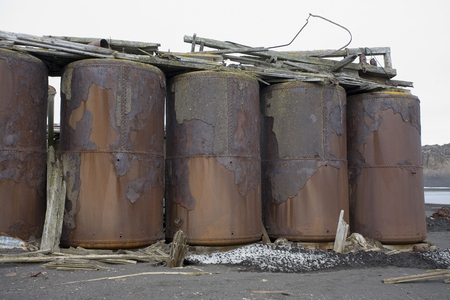 Rusting remains of the boilers at an old abandoned whaling station on Deception Island in Antarctica.