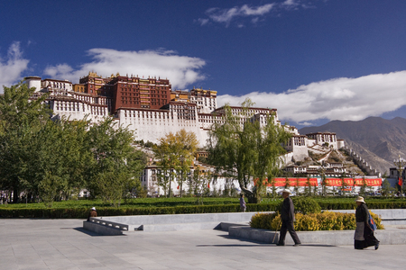 The Potala Palace in Lhasa, Tibet Autonomous Region of China. The residence of the Dalai Lama until the 14th Dalai Lama fled to India during the 1959 Tibetan uprising. Now a museum and World Heritage Site.