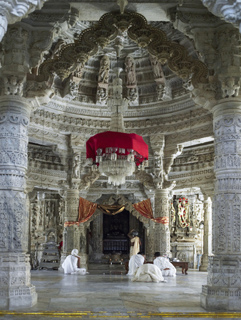 Interior of the Adinath Jain Temple at Ranakpur in the Rajasthan region of India.