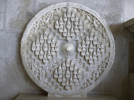 Circular sculpture inside the Adinath Jain temple at Ranakpur in Rajasthan, India.