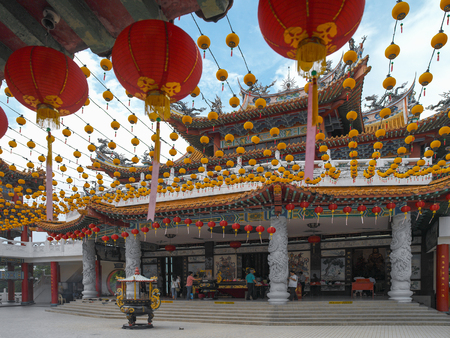 The Thean Hou Chinese Temple in Kuala Lumpur, Malaysia. Thean Hou is a six-tiered temple of the Chinese sea goddess Mazu, with elements of Buddhism, Confucianism and Taoism.