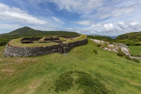 Leacanabuile Stone Fort. This 9th century fort or Cashel was the protected farmstead of a wealthy landowner. Located near Cahersiveen in the Republic of Ireland.