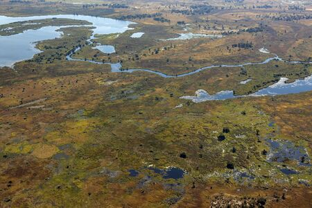 Aerial view of a small part of the Okavango Delta in northern Botswana, Africa.
