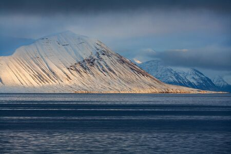 The coastline and mountains of Liefdefjord in the Svalbard Islands (Spitzbergen) in the high Arctic.
