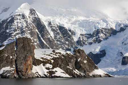 The mountains around Paradise Bay on the Antarctic Peninsula in Antarctica.