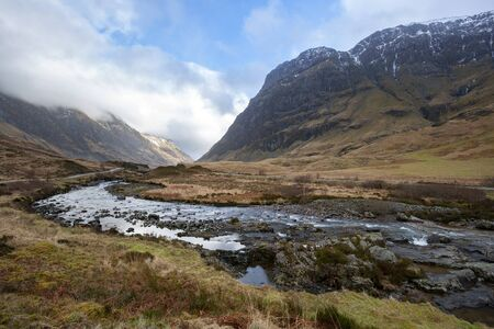 Glencoe - a glen (valley), of volcanic origins, in the Highlands of Scotland. It lies in the north of the county of Argyll. In the Jacobite uprising of 1689, the Massacre of Glencoe took place in the glen.