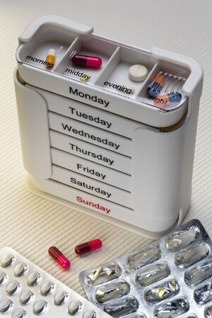 Medical Treatment - Daily medication to be taken in the morning, midday, evening and at night. Stock fotó