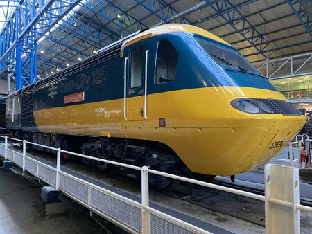 The InterCity 125 or High Speed Train is a diesel-powered passenger train built by British Rail Engineering Ltd between 1975 and 1982. The name is derived from its top operational speed of 125 mph. National Railway Museum, York, England. Editorial