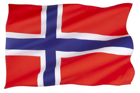 The national flag of Norway. Adopted on the 13 July 1821. Standard-Bild