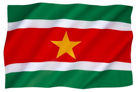 The national flag and ensign of Suriname - adopted 25 November 1975. Stock fotó