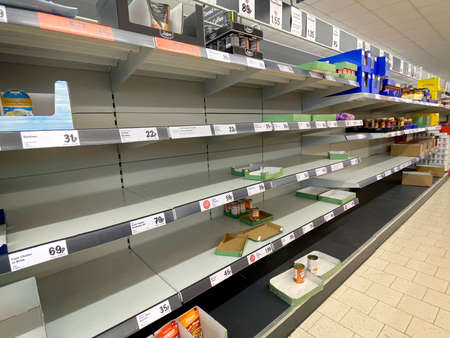 York. England. 03.19.20. Empty supermarket shelves following panic buying during the Coronavirus pandemic.
