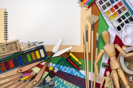 School Art Materials - Space for Text Stockfoto