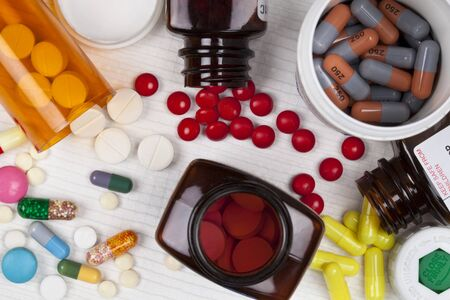 Pills, tablets and capsules used by the medical profession in the treatment of illness. Stockfoto