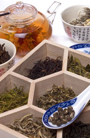 Types of Chinese Tea including, Flowering Tea, Pouchong, Long Jing, Anji Bai Cha, Jasmine Silver Needles, Jasmine Pearls, Oolong Tea and Puerh Tea.
