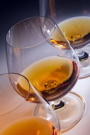 Line of Brandy snifters with French Brandy (Cognac).