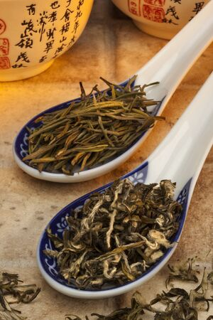 Two types of Chinese Green Tea Stockfoto