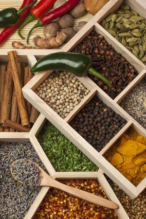 A selection of spices used in cooking Stockfoto