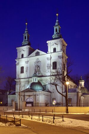 Night view of St. Florian's Church at the north end of Matejko Square in the city of Krakow, Poland.