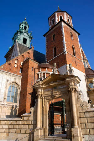 The Royal Cathedral on Wawel Hill within the grounds of Wawel Castle in Krakow, Poland. The cathedral features the Baroque style chapel of the Vasa family and the renaissance Zyguntowska Chapel. The dome is coved in pure gold provide by Queen Anna Jagiell