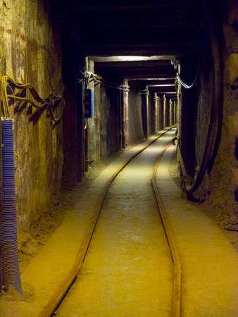 A deep undergound tunnel in the Wieliczka Salt Mine near Krakow in Poland. It is a UNESCO World Heritage Site.