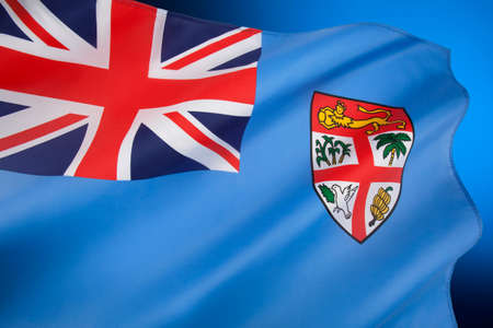 Republic of Fiji - The current flag of Fiji was adopted on 10 October 1970. The state arms have been slightly modified but the flag has remained almost the same as during the British colonial period. Foto de archivo