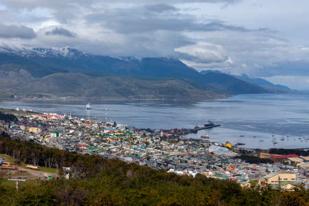 The city of Ushuaia and the Beagle Channel in Tierra del Fuego in southern Argentina, South America. Ushuaia claims the title of southernmost city in the world.