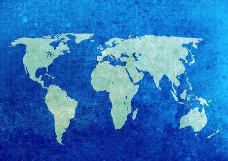 Blue and green grunge world map background,  Standard-Bild