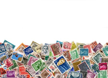 Hundreds of postage stamps from many different countries, copy space