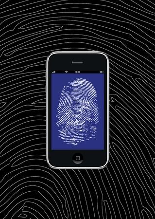 Smartphone con il modello di carta da parati e sfondo di impronte digitali