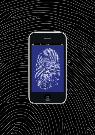 authorise: Smartphone with fingerprint wallpaper and background pattern Editorial