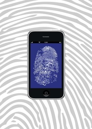 Smartphone met vingerafdrukbehang en achtergrondpatroon