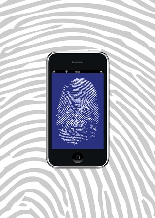 Smartphone with fingerprint wallpaper and background pattern Stock Photo