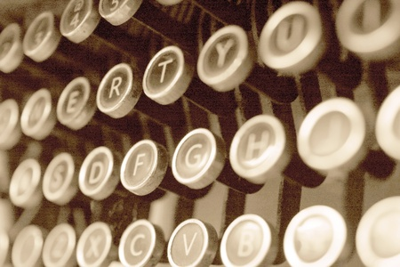 Antique typewriter keys close up, selective focus photo