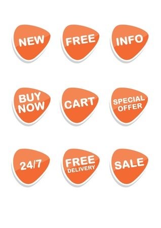 Set of 9 vector online shopping icons, orange Stock Vector - 9689691