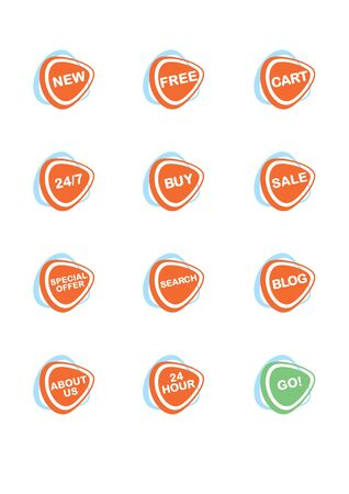 Set of 12 vector online shopping icons, orange and blue Stock Vector - 9689695