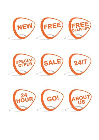 Set of 9 vector online shopping icons, orange and grey Stock Vector - 9689694