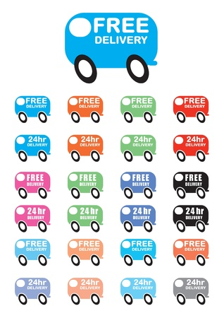 24 delivery van vectors, free delivery and 24hr delivery Stock Vector - 9689697