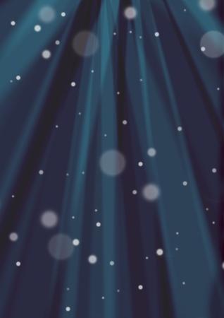 Dark blue sunburst and out of focus snow background