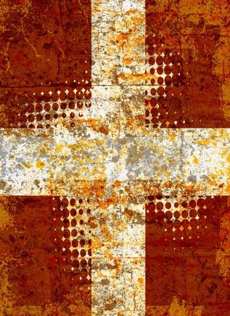Grunge croce con pattern mezzetinte Archivio Fotografico
