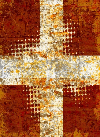 Grunge cross with halftone pattern photo