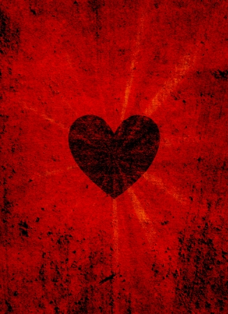 Black valentine heart on grunge background