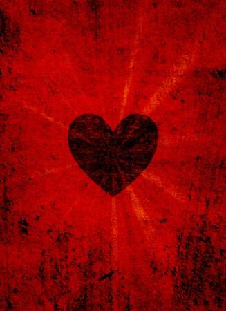 Black valentine heart on grunge background