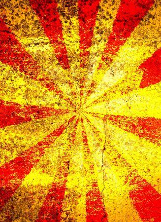 Grunge rosso e giallo sfondo starburst cracking Archivio Fotografico