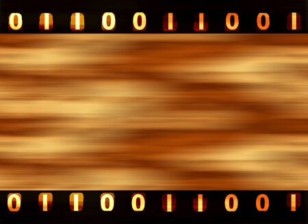 Digital film strip with binary sprockets photo