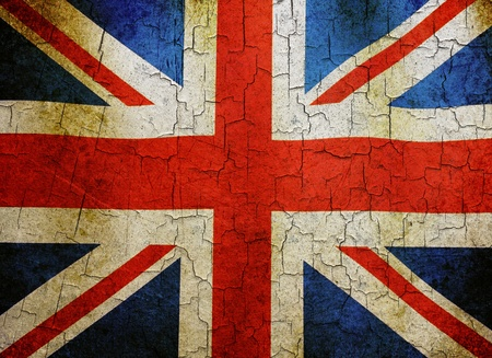 Union flag on a cracked grunge background photo