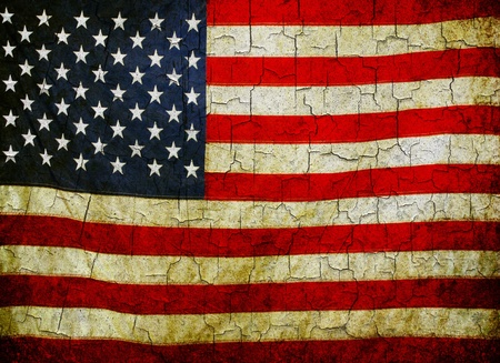 American flag on a cracked grunge background