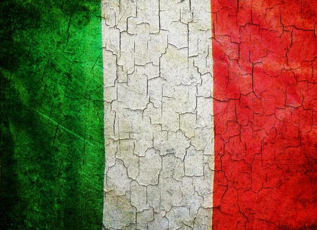 Italy flag on a cracked grunge background