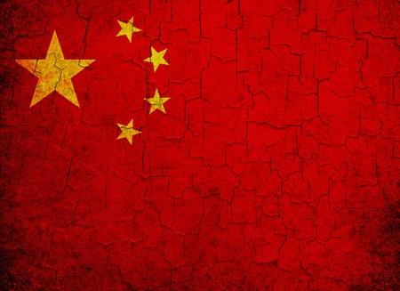 Grunge China flag on a cracked grunge background Stock Photo
